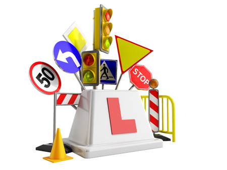 concept of driver school logo road signs traffic lights fencing 3d render on wite no shadow Imagens