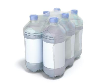 pat bottles in wrapped package 3d render on white 写真素材