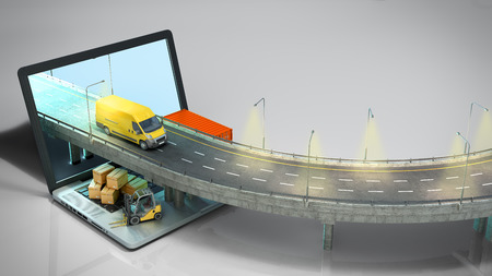 transportation concept road from the laptop on the road going truck there are boxes and a loader on the laptop 3d render on grey gradient 版權商用圖片