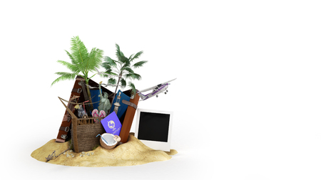 Concept of travel and tourism attractions and brown suitcase for travel 3D illustration on white Imagens - 124631789