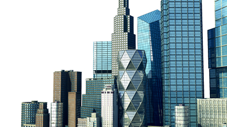 Day city with reflection 3d rendering image on white Stock Photo