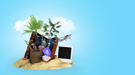 Concept of travel and tourism attractions and brown suitcase for travel 3D illustration on blue gradient Imagens