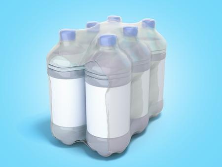 pat bottles in wrapped package 3d render on blue gradient 写真素材