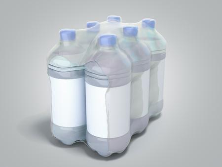 pat bottles in wrapped package 3d render on grey gradient