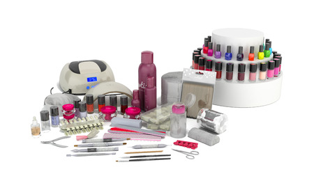 Manicure set for gel nail procedure Nail LED lamp colour gel polishes and pink file 3d render on white