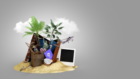 Concept of travel and tourism attractions and brown suitcase for travel 3D illustration on grey gradient