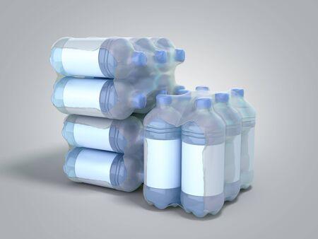 stack of pat bottles in wrapped package 3d render on grey gradient