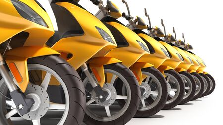 Yellow moped scooter parking Transport wheel 3d render on white Banque d'images - 124633179