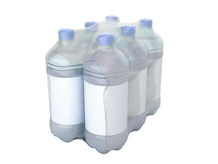 pat bottles in wrapped package 3d render on whiite no shadow