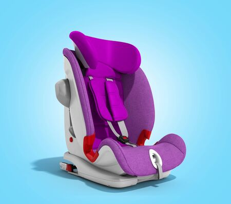 baby car seat 3d render on blue gradient