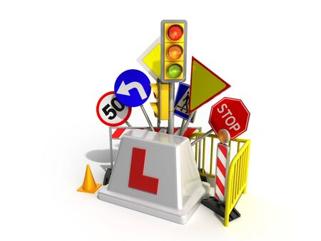Concept of driver school logo road signs traffic lights fencing 3d render on white Фото со стока