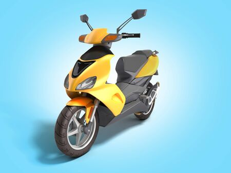 Yellow moped scooter Transport wheel 3d render on blue gradient Фото со стока
