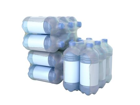 stack of pat bottles in wrapped package 3d render on white no shadow