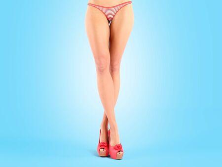Long beautifyl woman legs crossed front view 3d render on blue gradient Фото со стока