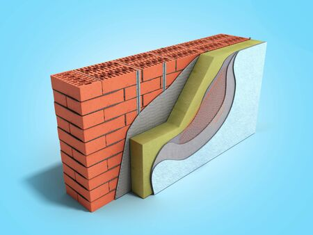 Layered brick wall thermal insulation concept 3d render on blue gradient Stok Fotoğraf