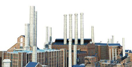 Old industrial buildings  3d rendering image on white