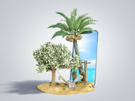 Vacation savings concept hammock attached to a money tree on the  of a smartphone with a photo of the sea 3d render on grey gradient Фото со стока