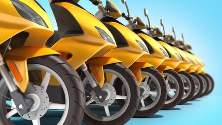 Yellow moped scooter parking Transport wheel 3d render on blue gradient