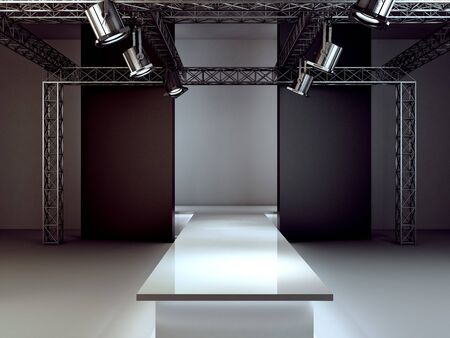 Empty fashion runway podium stage interior realistic