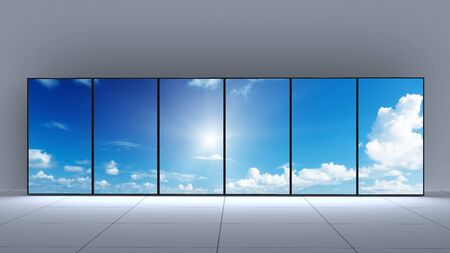 Blank panel exhibition stand with the sky on the screens 3d render