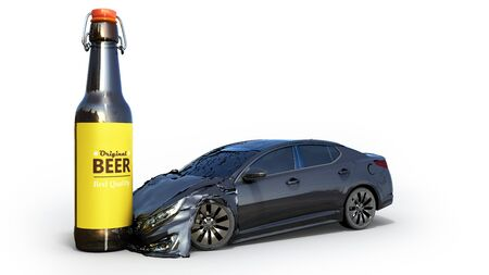 Drunk driving concept car crashed on a bottle 3d render on white Фото со стока