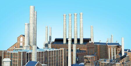 Old industrial buildings  3d rendering image on blue gradient