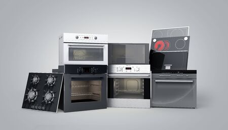 Home appliances built in Group of white 3d render on grey gradient Imagens