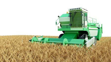 modern combine harvester working on a wheat crop 3g render on white Reklamní fotografie