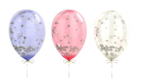 colorful balloons with sparkles in the inside 3d render in white