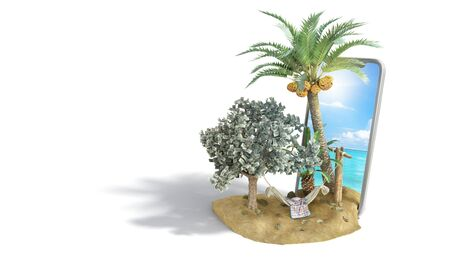 vacation savings concept hammock attached to a money tree on the background of a smartphone with a photo of the sea 3d render on white Stock Photo