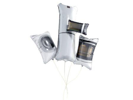 household appliances shaped balloons 3d render on white