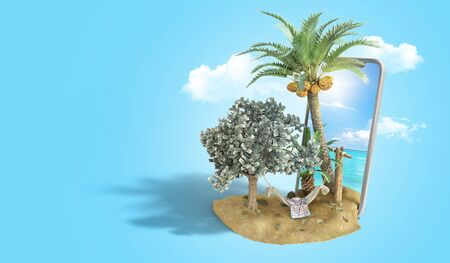 vacation savings concept hammock attached to a money tree on the background of a smartphone with a photo of the sea 3d render on blue gradient Stock Photo