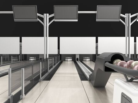 Modern bowling room waiting for visitors balls on bowling alley 3d render