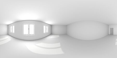 Full spherical 360 by 180 degrees seamless panorama in equirectangular equidistant projection, panorama in interior empty room 3d render