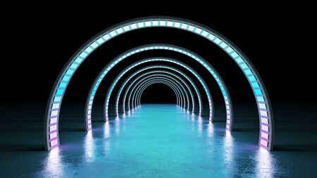 abstract minimal background glowing cyrcle lines tunnel neon lights 3d render