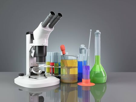 test tubes and flasks with reagents stand next to the microscope on the mirror floor 3d render on grey