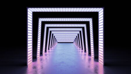 abstract minimal background glowing lines tunnel  neon lights 3d render