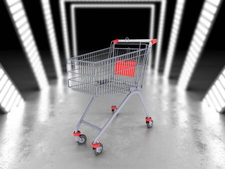 empty trolley from the supermarket 3d illustration in white futuristic tunnel Stock Photo