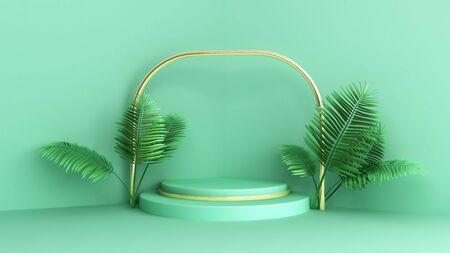 Simple geometric shape pastel color scene minimal design for product display podium 3d render