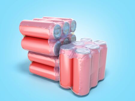 Red metal cans in wrapped package 3d render on blue gradient