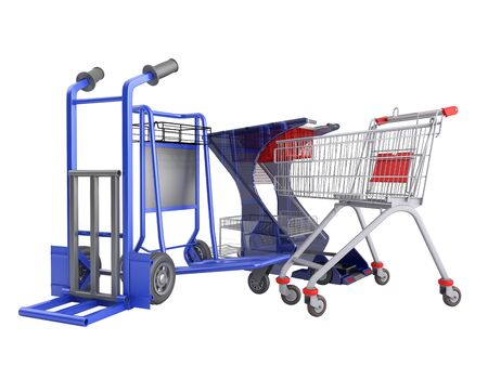 a set of supermarket trolleys for different loads 3d render on white no shadow