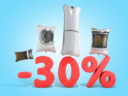 household appliances sale shaped balloons 3d render on blue gradient