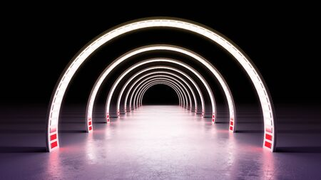 abstract minimal background white glowing cyrcle lines tunnel neon lights 3d render