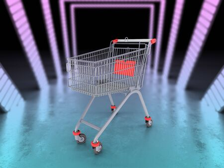 empty trolley from the supermarket 3d illustration in color futuristic tunnel