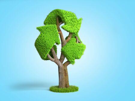 volumetric green grass coated recycling sign as tree 3d render on blue gradient Zdjęcie Seryjne