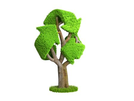 volumetric green grass coated recycling sign as tree 3d render on white no shadow