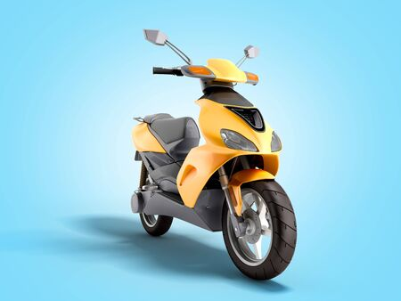 Yellow moped scooter Transport wheel 3d render on blue gradient Reklamní fotografie
