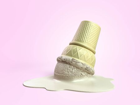 melted vanilla ice cream in a waffle cup 3d render on color gradient