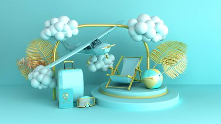 Minimal simple travel background holidays vacation and Airplane travel concept on pastel color background for copy space 3d rendering