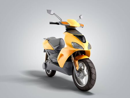 Yellow moped scooter Transport wheel 3d render on grey gradient